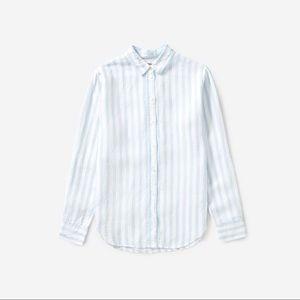 Everlane Linen Relaxed Shirt Blue/White Stripes
